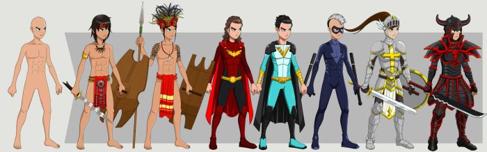 Character Design: One Body. Multiple Costumes by edwardjener