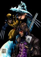 Gambit, Wolverine and Iceman by Daharaku