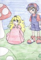 Little Mario and Peach by AngelicDragonElf