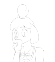 isabelle drinking chocolate milk (ACNL request) by Srskandy
