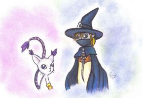 Wizardmon and Gatomon by who-stole-MY-name