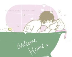 Johnlock Bath time by DeerAzeen