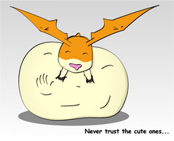 Over-stuffed Patamon by Dark-Wolfwood