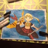 Maka mermaid with leopard shark by Technoloaf