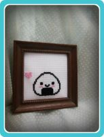 Framed Cross Stitch Onigiri/ Rice Ball by Ashler-Sauce