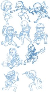 TF2 chibis sketches by roseannepage