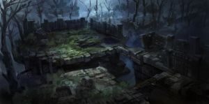 dark fantasy environment ruins 01 by onestepart
