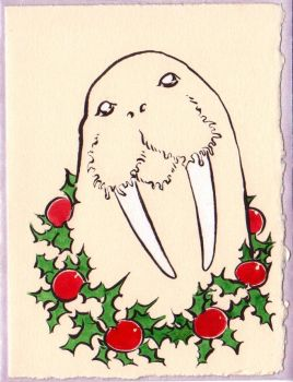 Xmas Walrus Portrait by Quilsnap