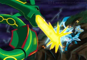 Axis vs Rayquaza by Laxia