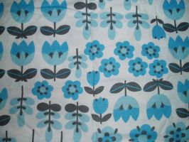 Vintage Blue Tulip Fabric by SolStock