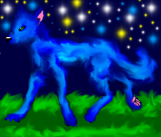 Blue wolf by lucymaggielover