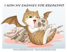 My Kitty with her Breakfast by keevs