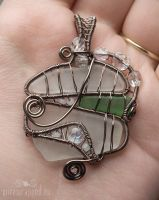 Sea glass vitrail pendant by ukapala