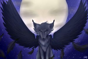 Essiepelt's Request: A wolf in the moonlight by MizuStarProductions
