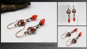 Wire wrapped earrings with jade by mea00