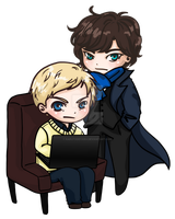 Chibi Sherlock and John by KarutoDeyara
