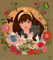 Alice, ceshire cat and rabbit by ValkyrieLionheart