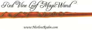Red Vine Leaf Magic Wand by MerlinOfManitou