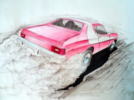 Starsky and Hutch 1976 Ford Gran Torino Drawing by prestonthecarartist