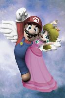 Peach et L'Mario by ThreeProngs