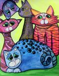 Colorful Cats in Portrait 3 by jenthestrawberry