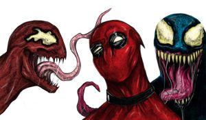 DEADPOOL  CARNAGE  VENOM by suspension99