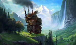 Howls Moving Castle at Staubbach Falls Switzerland by fantasio