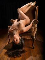 8209-NL Beautiful Long Hair Woman Nude on Chair by artonline