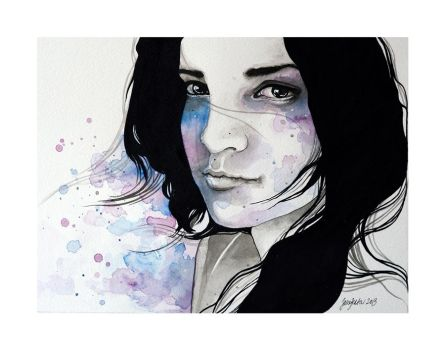 Diana, ink and watercolor portraiture - PLUS VIDEO by jane-beata