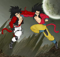 Bane SSJ4 vs Goku SSJ4 by DarkBane95