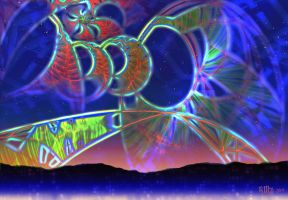 Flame Rainbow on Fractal Island by Artico621