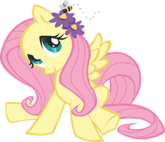 fluttershy with bee vector by shadowandtwilight