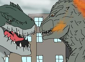 Godzilla 2000 vs Zilla by TheSpiderAdventurer