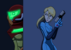 Samus Vs The SA-X by AraghenXD