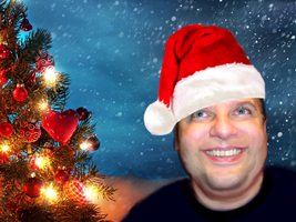 Joey Aquilino Santa Hat and Tree Background by Kimberly-at-JGF