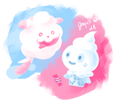 Swirlix and Vanillite - Dessert Pokemon by Joysii