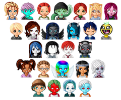 MH: Lunaii OC Faces by KPenDragon