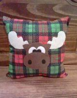 Melvin the Moose Christmas Plaid Pillow by msmegas