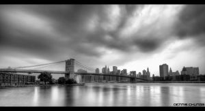Brooklyn Bridge BW by DennisChunga