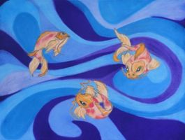 3 Swimming Koi Fish by TJG-DESIGNS