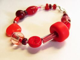Chunky Red Glass Bracelet by VioletRosePetals