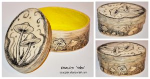 Psycho mushrooms wooden box by ElaRaczyk