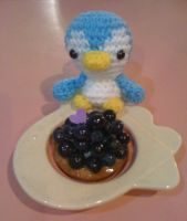 Penguin and Homemade Blueberry Tart by DumbDumbGoldfishie