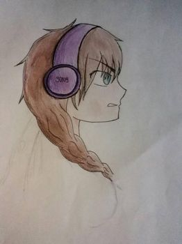 Girl With head phones by TheMagicSlothUnicorn