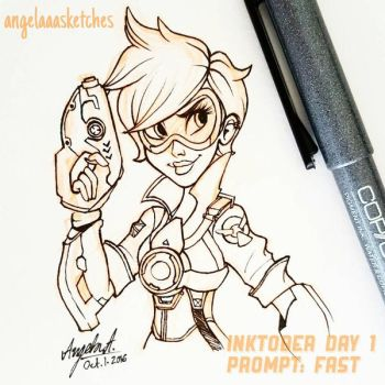 Inktober 2016 Day 1: Tracer by angelaaasketches