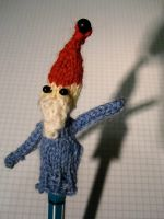 knitted gnome finger puppet by pragueloop