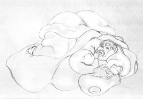Creating her own bed (sketch) by koudelka2005