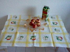 Cross stitch table cloth apple by Anim-Soul