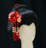 Vintage Inspired Ivory and Red Tsumami Kanzashi by japanesesilkflowers