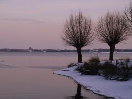 beautiful lake in the winter by minimeany